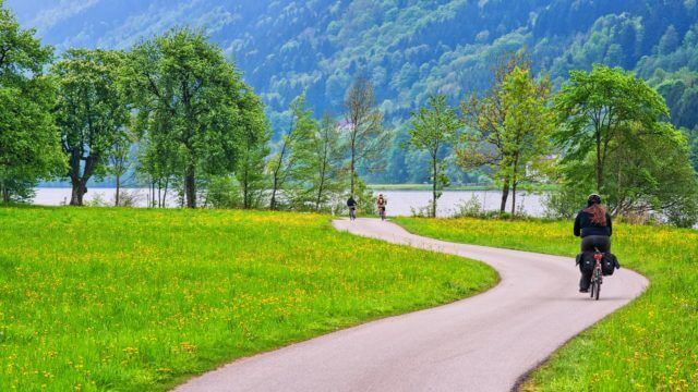Bike rider cycling a bikeway along the Danube river in Austria, Europe