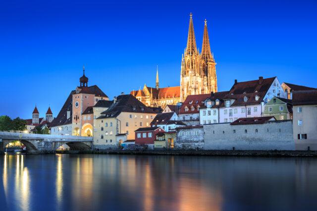 Cathedral view over Danube river in Regensburg, Bavaria, Germany